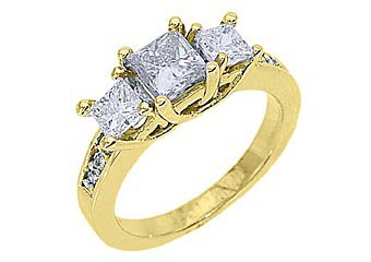 1.63 CARAT WOMENS 3-STONE PAST PRESENT FUTURE DIAMOND RING PRINCESS YELLOW GOLD