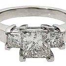2 CARAT WOMENS 3-STONE PAST PRESENT FUTURE DIAMOND RING SQUARE CUT WHITE GOLD