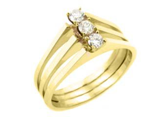 1/2 CARAT WOMENS 3-STONE PAST PRESENT FUTURE DIAMOND RING ROUND CUT YELLOW GOLD