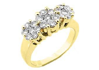 1.2 CARAT WOMENS PAST PRESENT FUTURE DIAMOND RING ROUND CUT CLUSTER YELLOW GOLD
