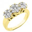 1.2 CARAT WOMENS PAST PRESENT FUTURE DIAMOND RING ROUND CUT CLUSTER YELLOW GOLD