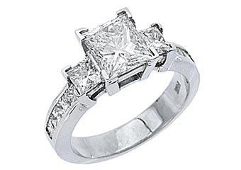 3 CARAT WOMENS 3-STONE PAST PRESENT FUTURE DIAMOND RING PRINCESS CUT WHITE GOLD