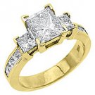 3 CARAT WOMENS 3-STONE PAST PRESENT FUTURE DIAMOND RING PRINCESS CUT YELLOW GOLD