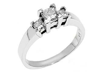 1 CARAT WOMENS 3-STONE PAST PRESENT FUTURE DIAMOND RING PRINCESS CUT WHITE GOLD