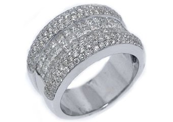 2.5 CARAT WOMENS PRINCESS CUT INVISIBLE DIAMOND RING WEDDING BAND WHITE GOLD