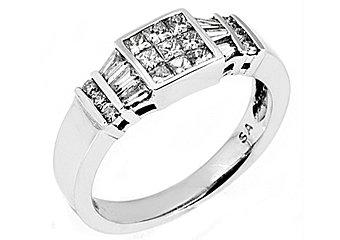 WOMENS 1 CARAT INVISIBLE BAGUETTE PRINCESS SQUARE ROUND CUT DIAMOND WEDDING RING