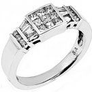 WOMENS 1 CARAT INVISIBLE BAGUETTE PRINCESS SQUARE ROUND CUT DIAMOND WEDDING RING
