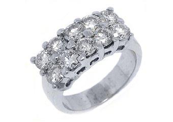 2.5 CARAT WOMENS BRILLIANT ROUND CUT DIAMOND RING WEDDING BAND 2 ROW WHITE GOLD