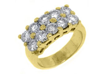 2.5 CARAT WOMENS BRILLIANT ROUND CUT DIAMOND RING WEDDING BAND 2 ROW YELLOW GOLD