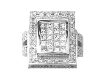 WOMENS 2.4 CARAT DIAMOND RING PRINCESS SQUARE CUT INVISIBLE 18KT WHITE GOLD