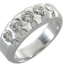 1.15 CARAT WOMENS BRILLIANT ROUND 5-STONE DIAMOND RING WEDDING BAND WHITE GOLD