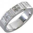 1 CARAT WOMENS PRINCESS BAGUETTE INVISIBLE DIAMOND RING WEDDING BAND WHITE GOLD