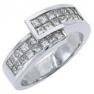 1.2CT WOMENS PRINCESS SQUARE CUT INVISIBLE DIAMOND RING WEDDING BAND WHITE GOLD