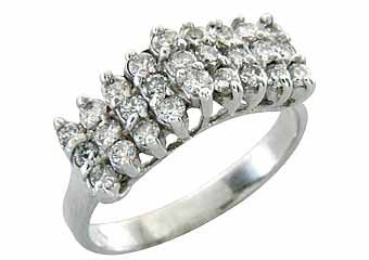 WOMENS .90 CARAT ROUND CUT DIAMOND CLUSTER RING WEDDING BAND 14KT WHITE GOLD