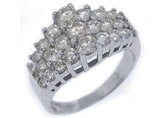 WOMENS 2.18 CARAT ROUND CUT DIAMOND CLUSTER RING WEDDING BAND 14KT WHITE GOLD