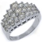 WOMENS 2.18 CARAT ROUND CUT DIAMOND CLUSTER RING WEDDING BAND 14KT WHITE GOLD