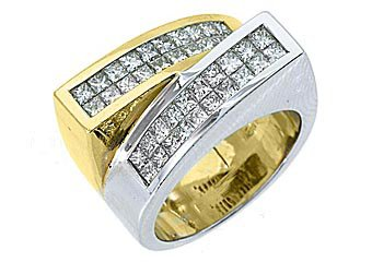 LADIES 1.68 CARAT PRINCESS SQUARE CUT DIAMOND RING WEDDING BAND TWO TONE GOLD