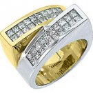 LADIES 1.68 CARAT PRINCESS SQUARE CUT DIAMOND RING WEDDING BAND TWO TONE GOLD