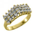 WOMENS .90 CARAT ROUND CUT DIAMOND CLUSTER RING WEDDING BAND 14KT YELLOW GOLD