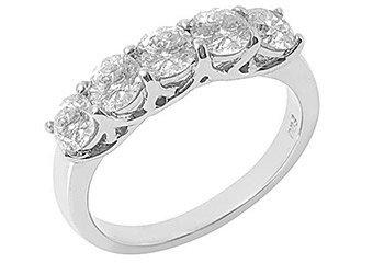 1.25 CARAT WOMENS BRILLIANT ROUND 5-STONE DIAMOND RING WEDDING BAND WHITE GOLD