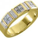 1 CARAT WOMENS PRINCESS BAGUETTE INVISIBLE DIAMOND RING WEDDING BAND YELLOW GOLD