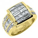 WOMENS 3 CARAT DIAMOND ENGAGEMENT RING PRINCESS SQUARE BAGUETTE CUT YELLOW GOLD