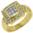 WOMENS 1.5 CARAT DIAMOND ENGAGEMENT HALO RING PRINCESS SQUARE CUT YELLOW GOLD