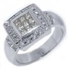 WOMENS 1.5 CARAT DIAMOND ENGAGEMENT HALO RING PRINCESS SQUARE CUT 18K WHITE GOLD