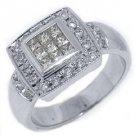 WOMENS 1.5 CARAT DIAMOND ENGAGEMENT HALO RING PRINCESS SQUARE CUT 18K WHITE GOLD