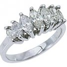 1.28 CARAT WOMENS MARQUISE CUT 7-STONE DIAMOND RING WEDDING BAND WHITE GOLD