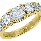 2.25 CARAT WOMENS BRILLIANT ROUND 5-STONE DIAMOND RING WEDDING BAND YELLOW GOLD