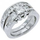 WOMENS DIAMOND ENGAGEMENT RING WEDDING BAND BRIDAL SET PRINCESS CUT WHITE GOLD