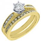 1 CARAT WOMENS DIAMOND ENGAGEMENT RING WEDDING BAND BRIDAL SET ROUND YELLOW GOLD