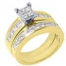 2.2CT WOMENS DIAMOND ENGAGEMENT RING WEDDING BAND BRIDAL SET SQUARE YELLOW GOLD