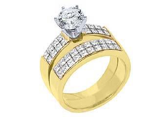 2.5CT WOMENS DIAMOND ENGAGEMENT RING WEDDING BAND BRIDAL SET ROUND YELLOW GOLD