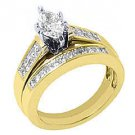 WOMENS DIAMOND ENGAGEMENT RING WEDDING BAND SET MARQUISE SHAPE YELLOW GOLD