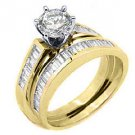 WOMEN DIAMOND ENGAGEMENT RING WEDDING BAND BRIDAL SET ROUND BAGUETTE YELLOW GOLD