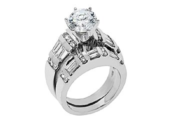 3 CARAT WOMENS DIAMOND ENGAGEMENT RING WEDDING BAND BRIDAL SET ROUND WHITE GOLD