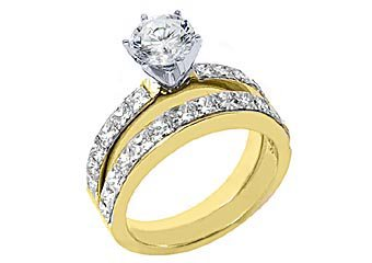 WOMENS DIAMOND ENGAGEMENT RING WEDDING BAND BRIDAL SET ROUND CUT 18K YELLOW GOLD