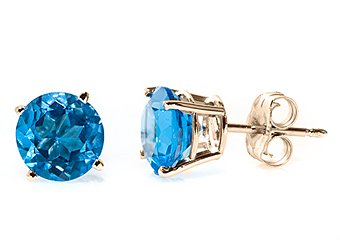 1.12 CARAT BLUE TOPAZ STUD EARRINGS 7mm ROUND YELLOW GOLD DECEMBER BIRTH STONE