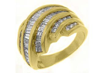 2.38CT WOMENS BRILLIANT ROUND BAGUETTE CUT DIAMOND RING WEDDING BAND YELLOW GOLD