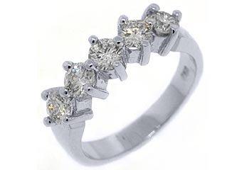 1.23 CARAT WOMENS BRILLIANT ROUND 5-STONE DIAMOND RING WEDDING BAND WHITE GOLD
