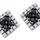.25 CARAT SQUARE SHAPE BLACK DIAMOND HALO STUD EARRINGS WHITE GOLD