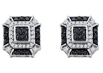 .48 CARAT BRILLIANT ROUND CUT BLACK DIAMOND STUD EARRINGS WHITE GOLD