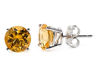 2.60 CARAT CITRINE STUD EARRINGS 7mm ROUND 14KT WHITE GOLD NOVEMBER BIRTH STONE