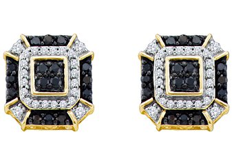 .48 CARAT BRILLIANT ROUND CUT BLACK DIAMOND STUD EARRINGS YELLOW GOLD