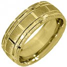 MENS WEDDING BAND ENGAGEMENT RING 14KT YELLOW GOLD SATIN LINES FINISH 7mm 140-AY