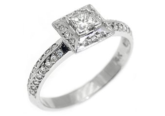 .43 CARAT WOMENS PRINCESS CUT DIAMOND HALO ENGAGEMENT RING MICRO PAVE WHITE GOLD