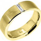 MENS 1/4 CARAT SOLITAIRE BAGUETTE CUT DIAMOND RING WEDDING BAND 14KT YELLOW GOLD
