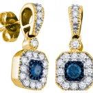 .66 CARAT SQUARE SHAPE BLUE DIAMOND DANGLE HALO EARRINGS YELLOW GOLD